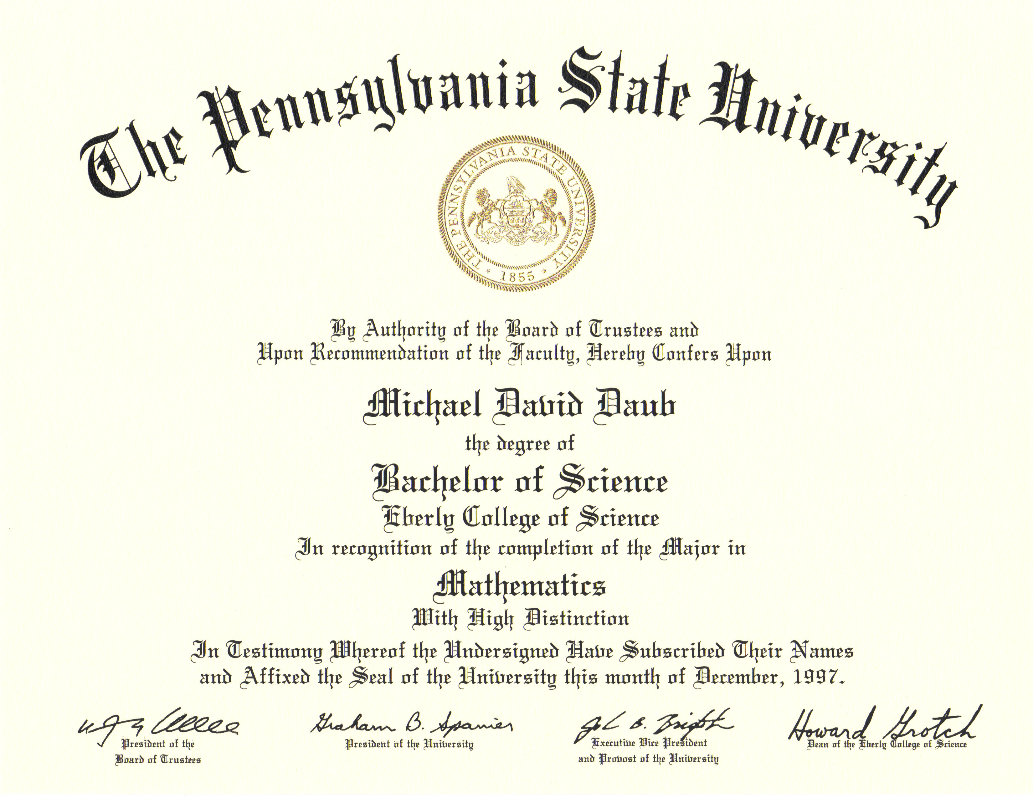 Bachelor Of Science In Mathematics Mike Daub